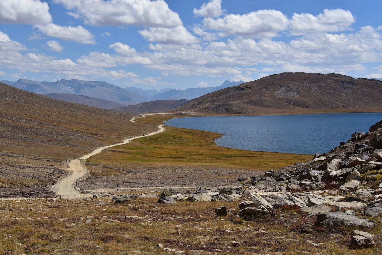 The picture shows view of Sheosar lake at Deosai National Park.