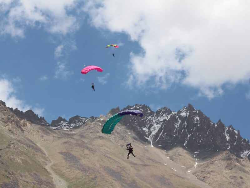 Paragliding at Shandur. Shandur Polo Festival Chitral Pakistan. This image is of the Shandur polo ground in Chitral