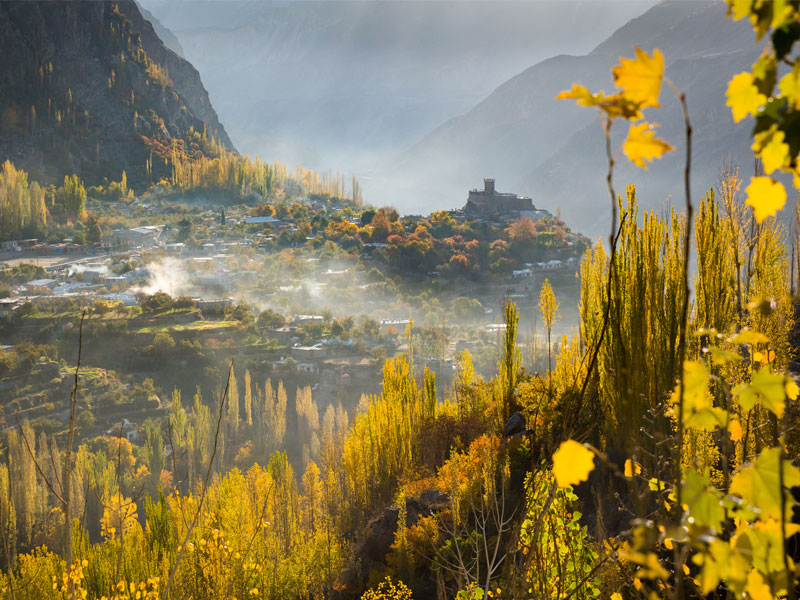 This picture represents Pakistan Autumn Tour and the place you see in the image is Hunza valley