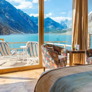Hunza Private Luxury Tour. This is image shows a hotel view of one of the hotels we are using on this tour. It is at Attabad Lake